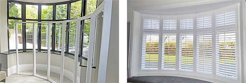 bay window framing exterior all our shutters are installed with madetomeasure frames that match the unique baywindowshutterframes1 perfect blinds merseyside