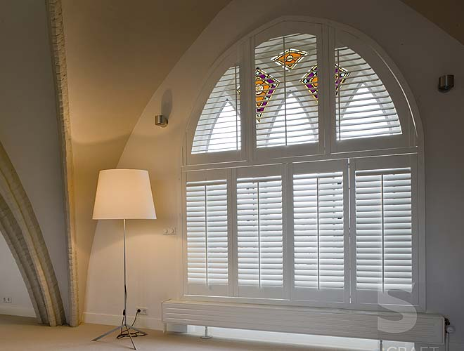 Custom Shape Plantation Shutter, North West UK by Perfect Blinds